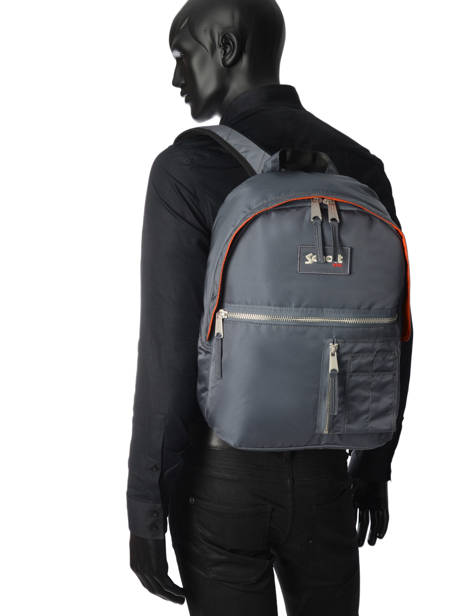 Backpack 1 Compartment Schott Gray army 18-62708 other view 3