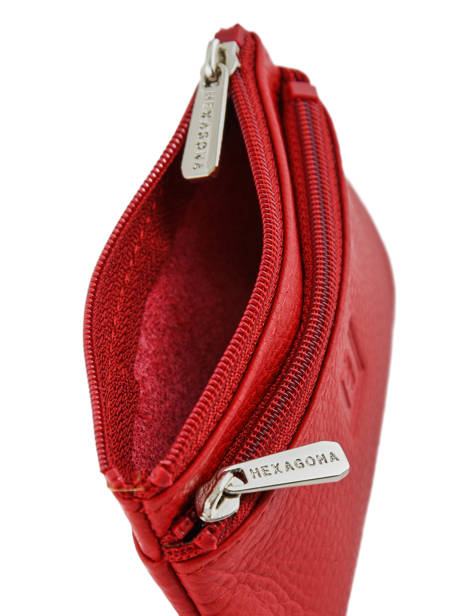 Purse Zippered Leather Hexagona Red toucher 627079 other view 2