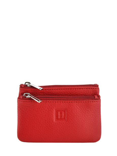 Purse Zippered Leather Hexagona Red toucher 627079