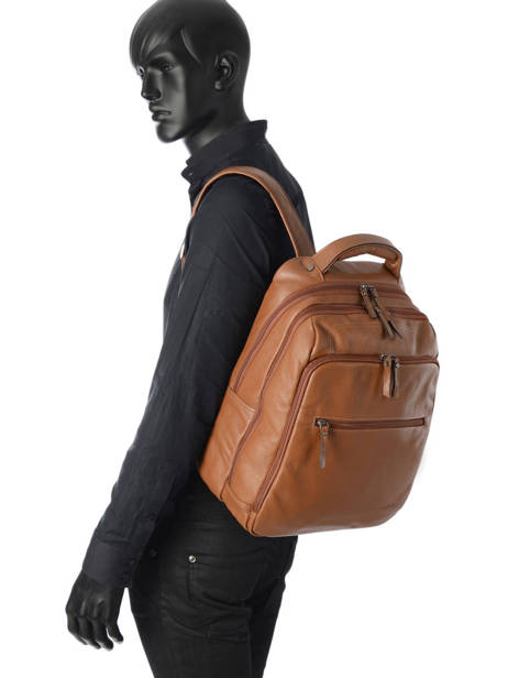 Backpack 2 Compartments + 15'' Pc Etrier Brown flandres EFLA07 other view 1