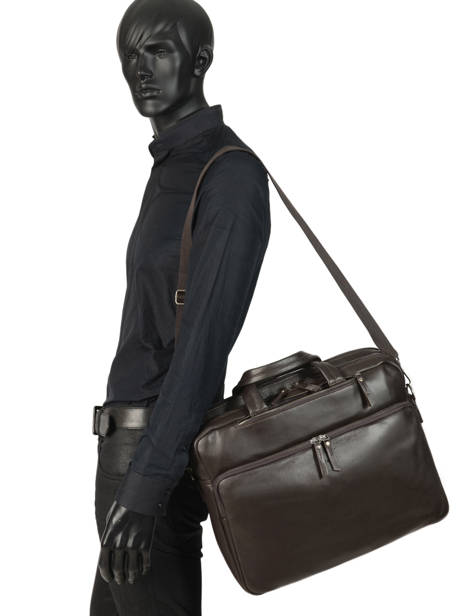 Leather Foulonné Briefcase/backpack Hybrid Etrier Brown foulonne EFOU02 other view 2