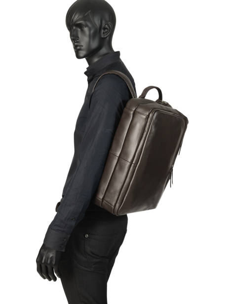 Leather Foulonné Briefcase/backpack Hybrid Etrier Brown foulonne EFOU02 other view 6