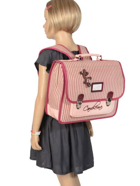 Cartable Enfant 2 Compartiments Cameleon Rose retro vinyl REV-CA35 vue secondaire 3