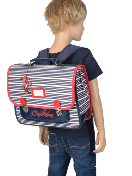 Satchel For Kids 2 Compartments Cameleon Blue retro vinyl REV-CA35 other view 3