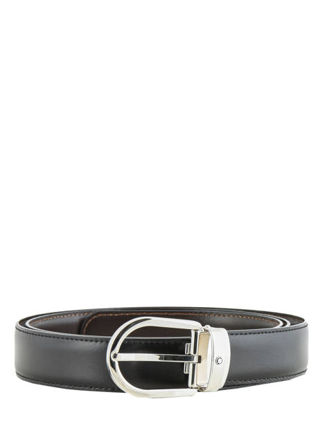 Leather Belt With Stainless Steel Buckle Montblanc Black belts 38157