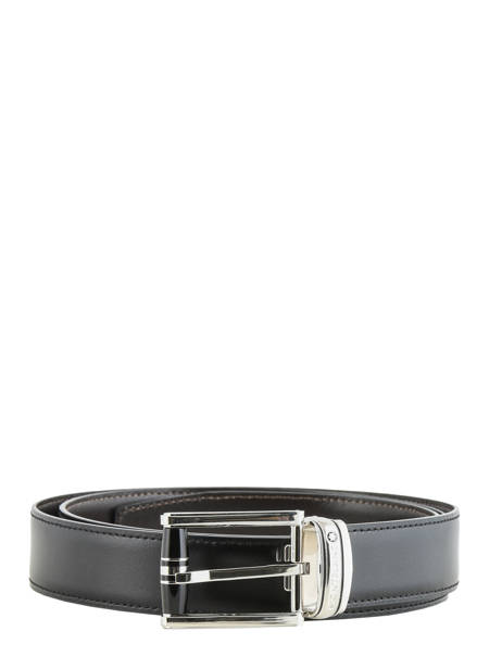 Leather Belt With Stainless Steel Buckle Montblanc Black belts 114386