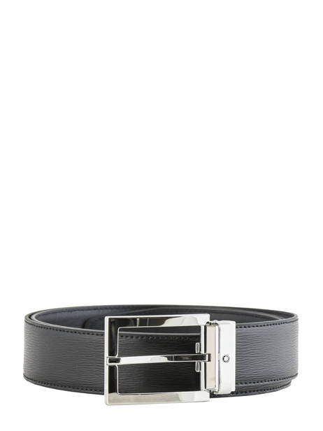 Leather Belt With Stainless Steel Buckle Montblanc Black belts 114435