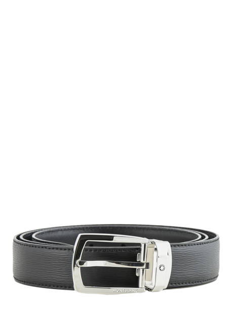 Leather Belt With Stainless Steel Buckle Montblanc Black belts 116706