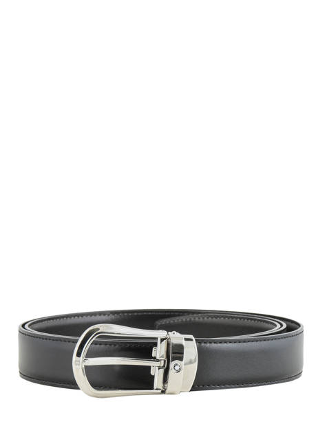 Leather Belt With Stainless Steel Buckle Montblanc Black belts 118425