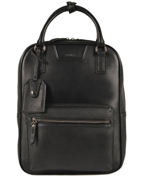 Leather Manhattan Business Backpack Etrier Black EMAN13