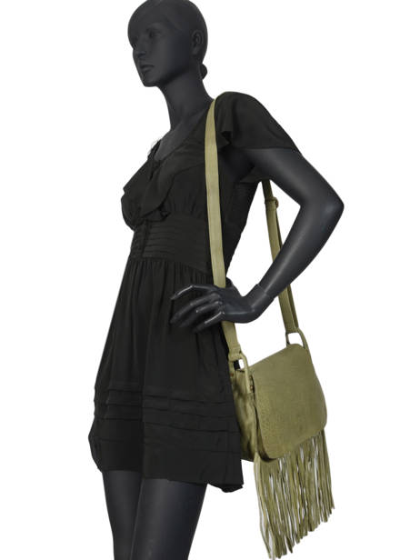 Leather Crossbody Bag Fringes Basilic pepper Green fringues BFRI03 other view 2