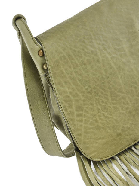 Leather Crossbody Bag Fringes Basilic pepper Green fringues BFRI03 other view 1