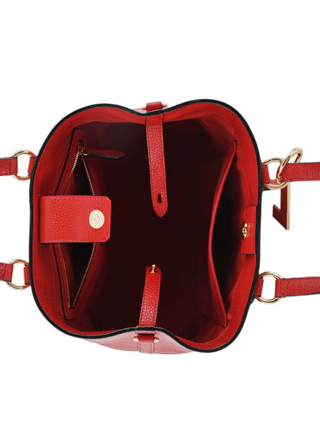 Small Leather Satchel Izy Lancel Red izy A10471 other view 5