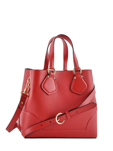 Small Leather Satchel Izy Lancel Red izy A10471 other view 4