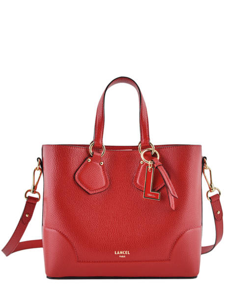 Small Leather Satchel Izy Lancel Red izy A10471 other view 2