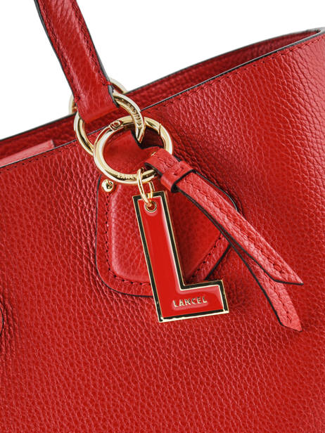 Small Leather Satchel Izy Lancel Red izy A10471 other view 1
