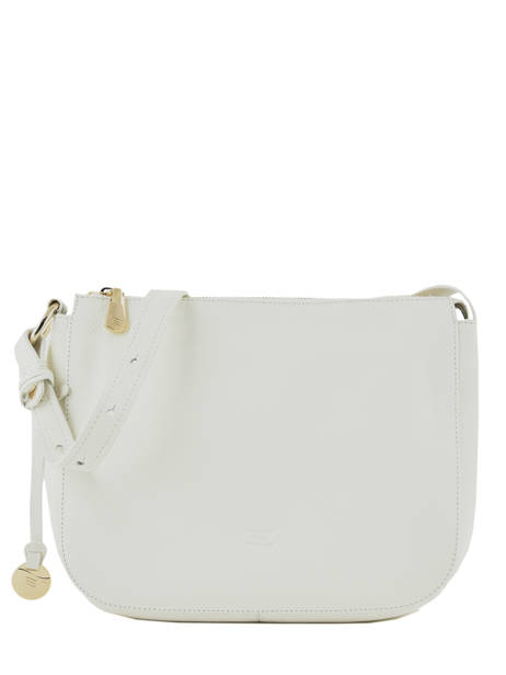 Leather Crossbody Bag Caviar Crinkles White 80962
