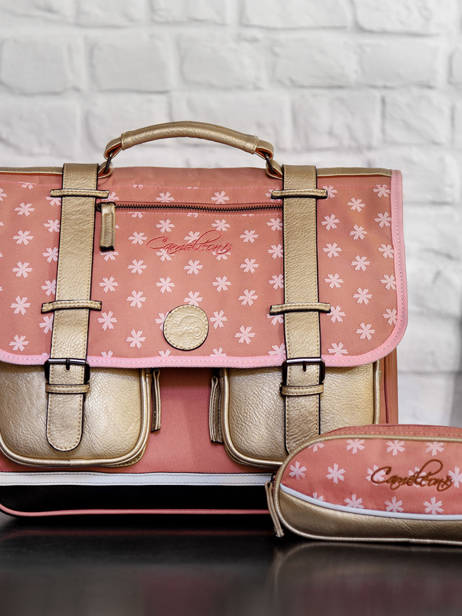 Satchel For Girl 2 Compartments Cameleon Pink vintage print girl VIG-CA38 other view 5