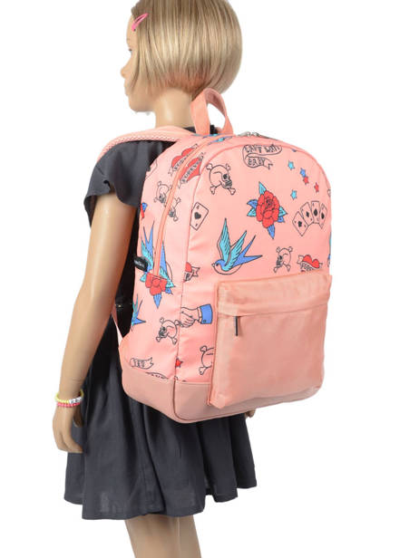 Backpack 1 Compartment Caramel et cie Pink fille F other view 2
