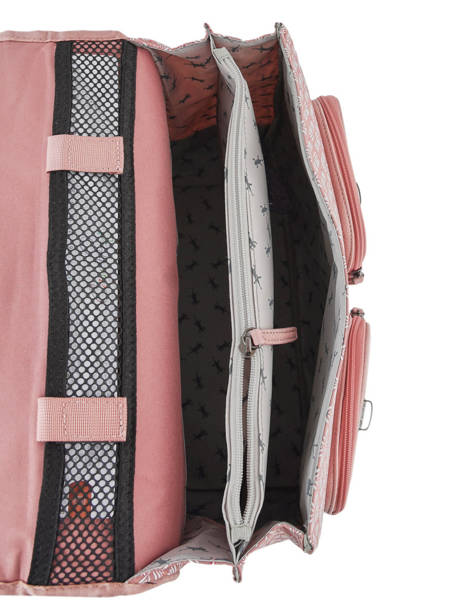 Satchel For Girl 2 Compartments Cameleon Pink vintage print girl VIG-CA38 other view 4