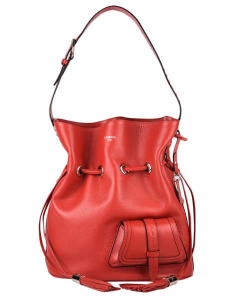 Large Leather Bucket Bag Premier Flirt Lancel Red premier flirt A10924
