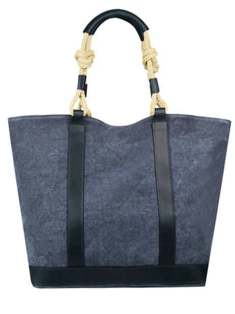 Le Cabas Tote Bag Linnen And Leather Vanessa bruno Blue cabas 6V40414