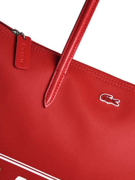 Large L.12.12 Shoulder Bag Maxi Logo Lacoste Red l12.12 season NF3259SJ other view 1