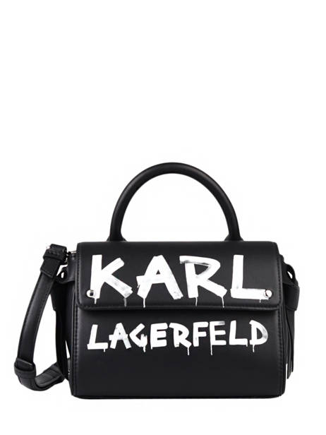 Leather K Ikon Graffiti Crossbody Bag Karl lagerfeld Black k icon 206W3059