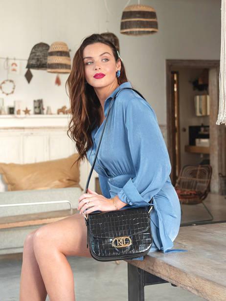 Leather Addie 24 Croco Crossbody Bag Lauren ralph lauren Black addie 24 31818573